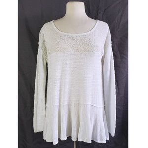 Free People Gauze Knit Embroidered Oversized Top